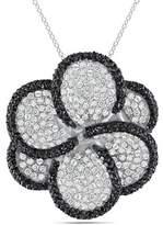 Catherine Malandrino Black And White Cubic Zirconia Flower Pendant.