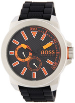 HUGO BOSS Men&s New York Silicone Strap Watch