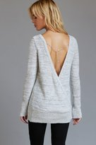 Dynamite Open Wrap Back Sweater with Chain Detail