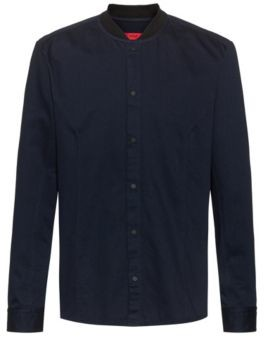 HUGO Relaxed-fit overshirt in cotton twill with press studs