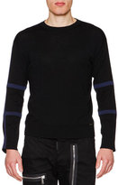 DSQUARED2 Tape-Trim Long-Sleeve Wool Sweater, Black/Blue