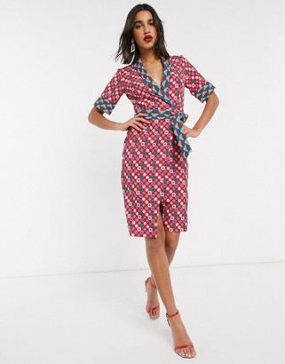 Closet London Closet wrap front midi dress in retro print