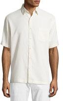 Neiman Marcus Waffle-Knit Short-Sleeve Shirt, Off White
