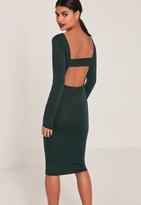 Missguided Green Long Sleeve Open Back Midi Dress