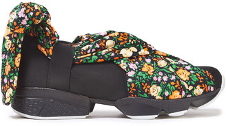 Ganni Floral-print Cotton-blend And Neoprene Slip-on Sneakers