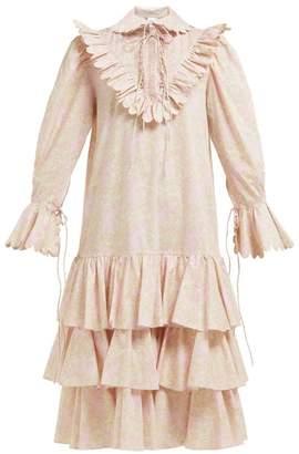 Horror Vacui Illustra Scalloped Floral-print Cotton Midi Dress - Womens - Light Pink