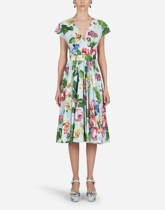Dolce & Gabbana Floral-Print Poplin Midi Dress
