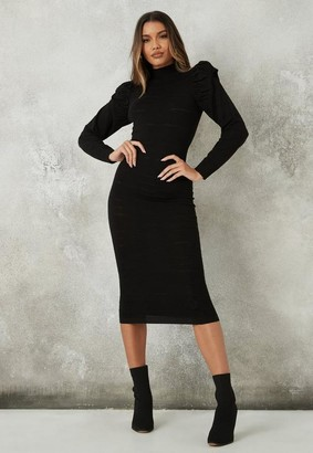 Missguided Black Puff Sleeve Textured Knit Midaxi Dress