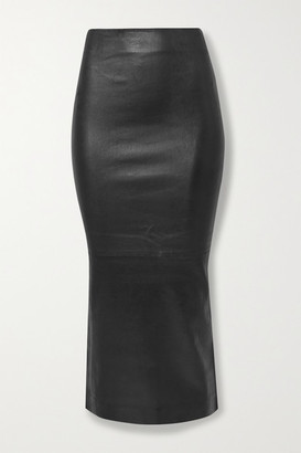Sprwmn Leather Midi Skirt - Black