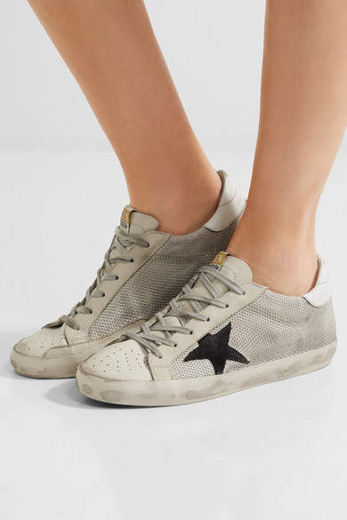 Golden Goose Deluxe Brand Super Star Mesh And Distressed Leather Sneakers - Gray