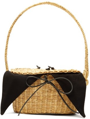 Muun Mini Jeanne Straw Basket Bag - Womens - Black