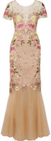 Marchesa Fluted Embellished Embroidered Tulle Gown