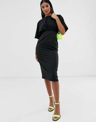 ASOS DESIGN midi pencil dress with button detail and angel sleeves