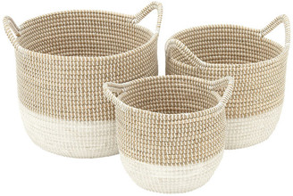 "CosmoLiving by Cosmopolitan White Seagrass Baskets w/ Handles, Set of 3: 18""x15"", 16""x13"", 13""x11"""