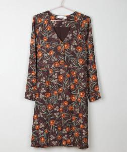 Indi & Cold - Cafe Floral V Neck Dress - medium