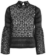 Topshop Lace trumpet sleeve top