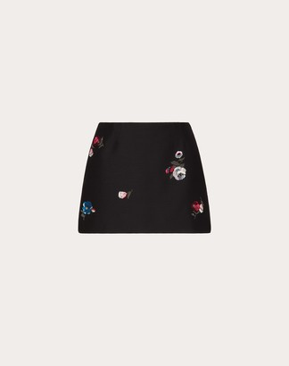Valentino Embroidered Crepe Couture Mini Skirt Women Multicoloured Virgin Wool 65%, Silk 35% 38