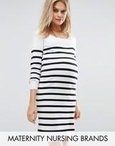 Mama Licious Mama.licious Nursing Striped Knitted Long Sleeve Dress
