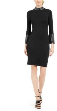 Calvin Klein Petite Embellished Mock-Neck Sweater Dress