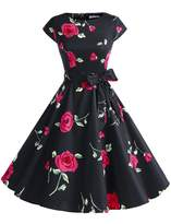Dressystar Vintage 1950s Polka Dot and Solid Color Prom Dresses Cap-sleeve XXXL