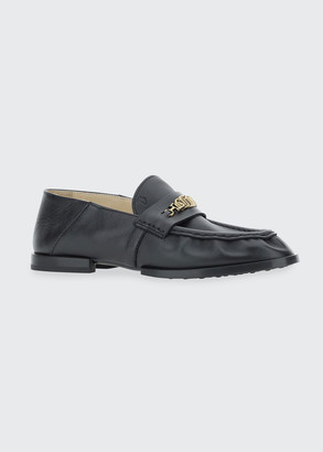 Tod's Scrunched Leather Chain Loafers