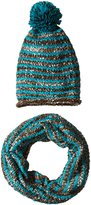Steve Madden Women's Blurred Lined Knit Snood Muffler and Beanie with Pom Set