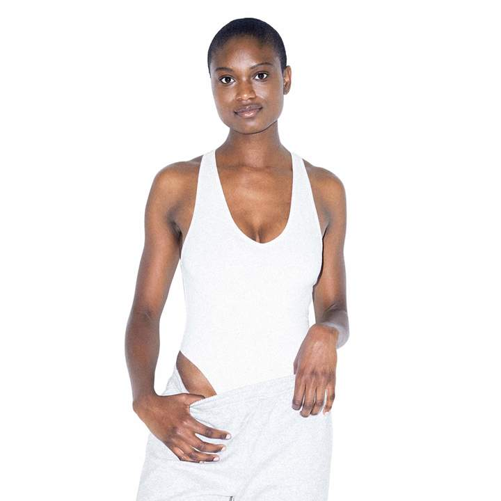 American Apparel Cotton Spandex Jersey Tank Thong Bodysuit