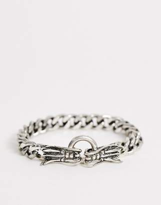 Reclaimed Vintage inspired chain bracelet with dragons in silver tone exclusive to ASOS