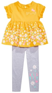 Hello Kitty Toddler Girls 2-Pc. Daisy Border Top & Leggings Set