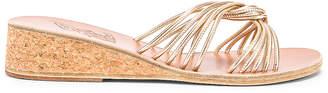 Ancient Greek Sandals Xanthi Wedge Sandals in Platinum   FWRD