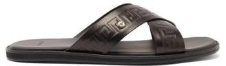 Versace Greca-embossed Cross-strap Leather Sandals - Black