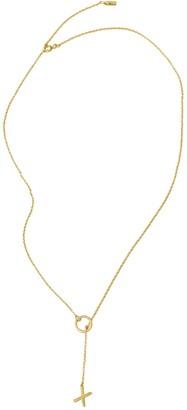 ADORNIA 14K Yellow Gold Vermeil Diamond XO Charm Lariat Necklace
