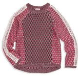 Design History Girl's Mixed Knit Hi-Lo Sweater