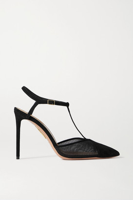 Aquazzura Sacha 105 Suede And Mesh Pumps - Black