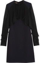 Giambattista Valli Ruffled Silk-chiffon And Cady Mini Dress - Navy