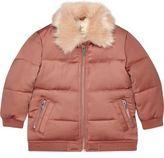 River Island Mini girls pink faux fur puffer coat