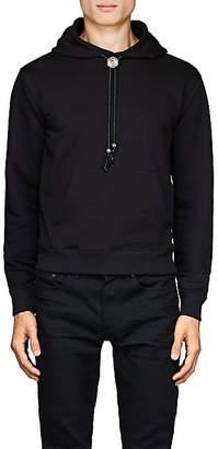Saint Laurent Men's Bolo-Tie Terry Hoodie - Black
