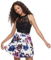 Speechless Juniors' Sequin Floral 2-Piece Dress