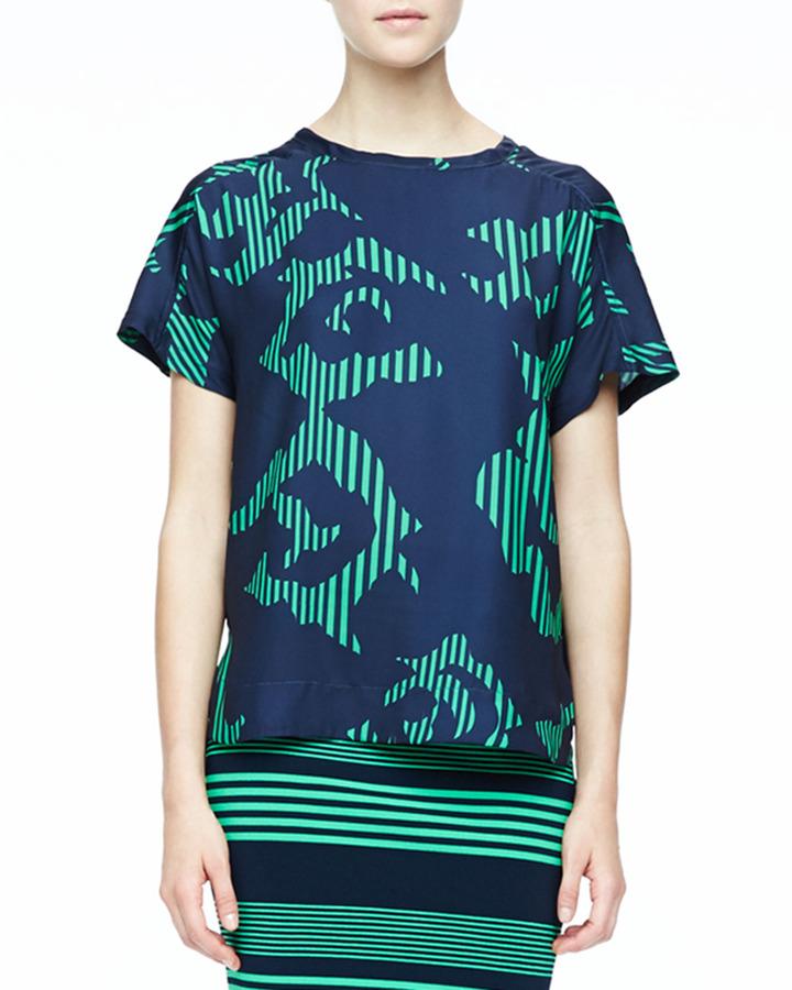 Halston Printed Short-Sleeve Top