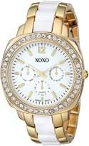 XOXO Women's XO5295 Gold and Clear Rhinestones Bezel Bracelet Watch