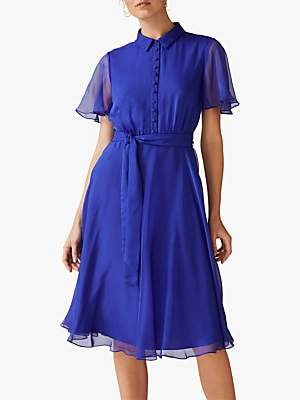 Phase Eight Adelphia Flared Shirt Dress, Bright Lapis