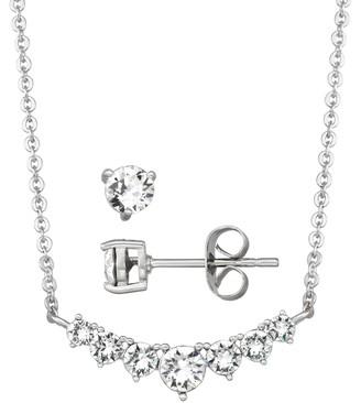 Brilliance+ Brilliance Graduated Bar Necklace & Stud Earring Set with Swarovski Crystal