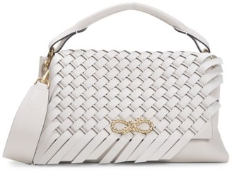 Anya Hindmarch Mini Rope Bow Woven Leather Shoulder Bag