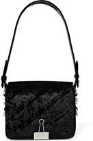 Off-White Embossed Velvet Shoulder Bag - Black