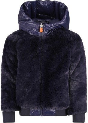 Save The Duck Blue Girl Faux Fur With Iconic Logo