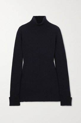 Chloé Ribbed Wool And Silk-blend Turtleneck Sweater - Navy