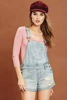 Forever 21 FOREVER 21+ Distressed Denim Overall Shorts