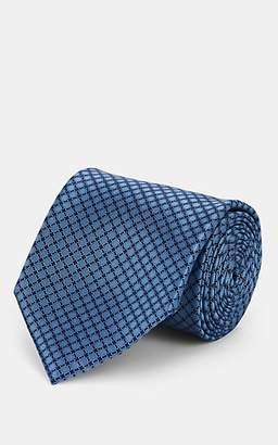 Brioni Men's Geometric-Pattern Silk Satin Necktie - Lt. Blue