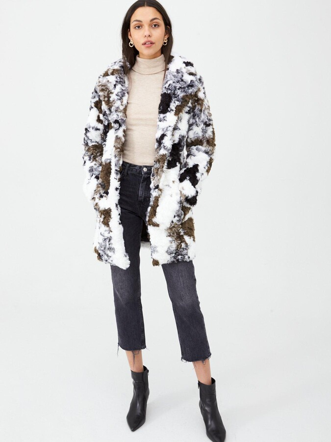 Thumbnail for your product : Very Cow Print Faux Fur Coat - Khaki