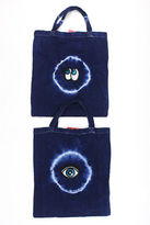 Joelle Gagnard Blue White Tie Dye Print Sequin Embellished Eyes Lot 2 Tote Bags New $90